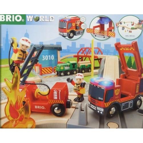 BRIO 33817. Traukinių ir ugniagesių rinkinys