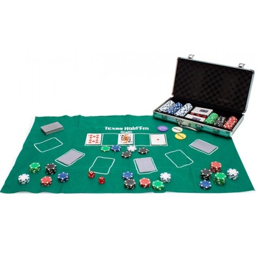 300 čipsų pokerio rinkinys lagamine