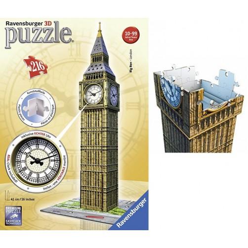 Tūrinė 3D dėlionė Big Ben su veikiančiu laikrodžiu