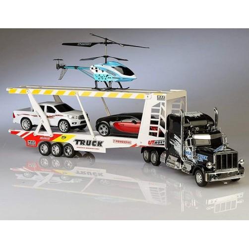 RC rinkinys sunkvežimis, lengvasis automobilis ir sraigtasparnis